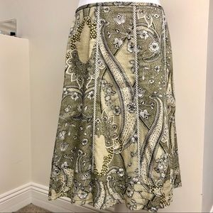 Ann Taylor 6 Olive Floral Skirt White Lace Detail